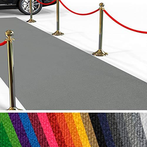 Passatoia Evento al Metro - Passerella Anti-Scivolo | Tappeto per Matrimonio, Cerimonia, Sfilata | 18 Colori, 2 Larghezze, fino a 50 m di Lunghezza |100x100 cm - Grigio chiaro