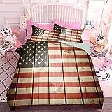 Juego de 3 fundas de edredón con bandera de Estados Unidos sobre tablero de madera a rayas verticales, diseño de ciudadanos solidarios (3 unidades, tamaño California King) con 2 fundas de almohada