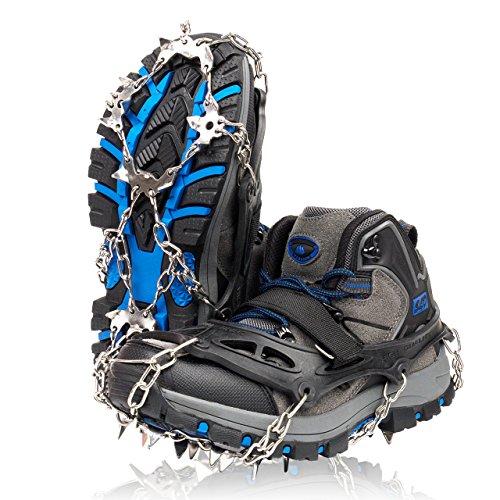 ZAFIELD アイゼン スパイク 19本爪 登山 雪山 トレッキング 簡単装着 収納袋付き 男女兼用 (ブラック, L(25.5~28.0cm))