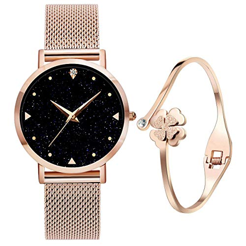 UEOTO Damenuhr Analog Quarz Armbanduhr mit Rosegold Uhr Edelstahl Milanese Armband, 3ATM Wasserdicht Damen Uhren mit Blau Sternenhimmel-Zifferblatt für Frauen