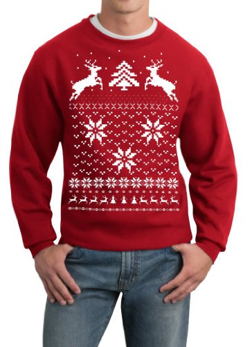 Skip N' Whistle Adult Ugly Christmas Sweater Reindeer In Snow Pullover Sweatshirt Small Red