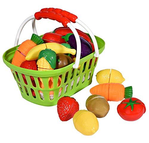Playkidz- Super Durable Panier de Fruits et légumes sains Semblant Jouer à la Cuisine Ensemble de Jeu éducatif avec Couteau Jouet Planche à découper (32 Morceaux, 3040, Green