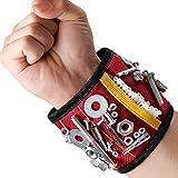 MYCARBON Bracelet magnétique avec 15 aimants puissants forts pour les vis de maintien, clous, trépans de forage, 2 sacs de rangement invisibles, Pratiquement être porté d'une main (Rouge)