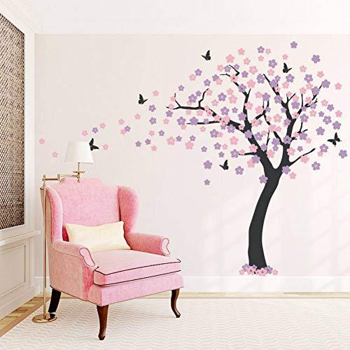 AAVJBD Große Kirschblütenbaum Wandaufkleber Schmetterling Wandtattoo Vinyl Kunst Decals Wohnzimmer Schlafzimmer Dekor Tapete Wandbild