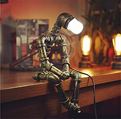 Ranefe Steampunk Industrial Table Lamp,Vintage Cool Pipes Robot Lamp Iron Bronze Industrial Steampunk Decor Table Desk Lamp for Living Room,Bedroom,Home Office