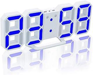 Walmeck 3D LED Digital Clock Glowing Night Mode Brightness Adjustable Electronic Table Clock 24/12 Hour Display Alarm Cloc...