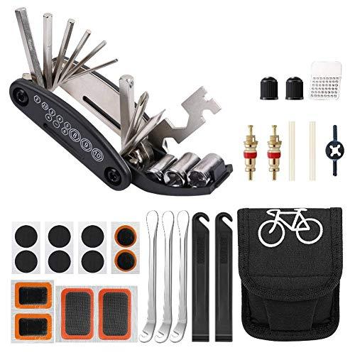 Fyzk 39 Pcs Bike Repair Tool Kit, 16 In 1 Multi-Function Bike Accessories Tool Bag, Portable Bicycle Puncture Repair Kit Mountain Bike Accessories for Men Women.