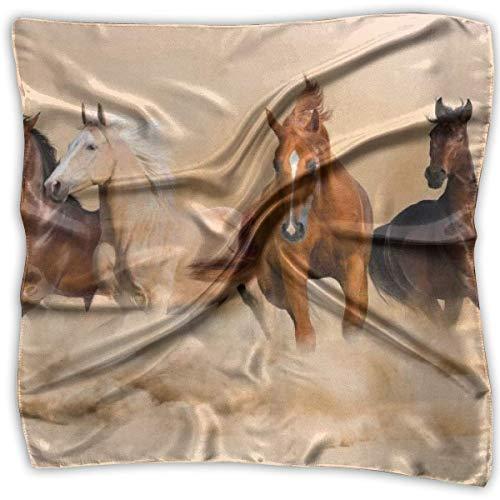 Bufanda cuadrada de satén S para mujer Caballo corriendo en la tormenta de arena del desierto Pañuelos para la cabeza con cuello estampado