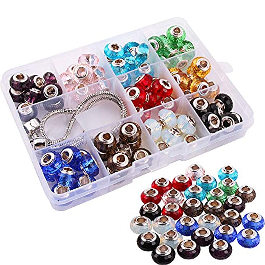 Colle 80pcs Glass European Beads Handmade Beads 14 x 8mm Murano Lampwork Crystal Charm Spacers Beads Large Hole Faceted Rondelle Beads Charms for Bracelet Jewelry Making with 2 Chains (10 Colors)