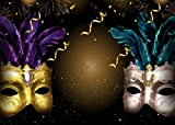 Mardi Gras Mask Photo Backdrop,Masquerade Photography Background for Carnival Themed Party,Birthday Decoration Booth Props,7x5ft