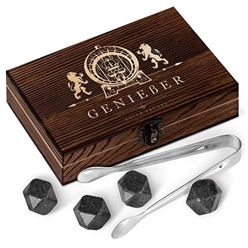 Murrano Whisky Steine Set - in Holzbox mit Gravur - 8 Eiswürfel + 2 Whisky Gläser - wiederverwendbar - aus Granit - Geschenk für Männer (Ohne Gläser, Ohne)