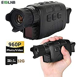 """ESSLNB Night Vision Monocular 960P Infrared Monocular with 1.5"""" TFT LCD Taking Photos Videos Playback Function with 32G TF Card 820ft Viewing Range Digital Night Vision Scope"""