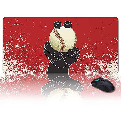 Übergroßes Gaming-Mauspad Extended XXL Computer-Mauspad Red Hand American Baseball Sports Büro-Schreibtischunterlage mit rutschfester Rückseite für Laptop-Desktop-Tastatur