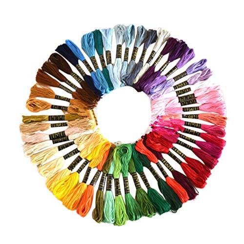 Heallily 50 Stück Kreuzstichfaden Kreuzstich Zahnseide Regenbogen Farbe Stickerei Zahnseide Handwerk Zahnseide Kreuzstich Werkzeugsätze (50 Arten von Farben)