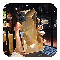 LLYAP for iPhone 12 11 Pro Max XS X 6 S 6S 8 7Plus携帯電話カバーファッションバックシェルバンパー用の豪華でユニークなダイヤモンドミラーアートケース-Gold-for iPhone X