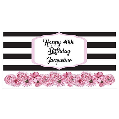 Black Max 52% OFF and White Striped Pink Banner Birthday Flowers Decor Party Cheap super special price