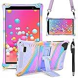 KATUMO Funda Universal Tablet 8 Pulgadas Carcasa Compatible con Samsung Galaxy Tab A 8.0 2019 (SM-T290 / T295 / T297), Teclast P80X/P80H, Funda Silicona Tablet Protectora,Rosa roja & Morada