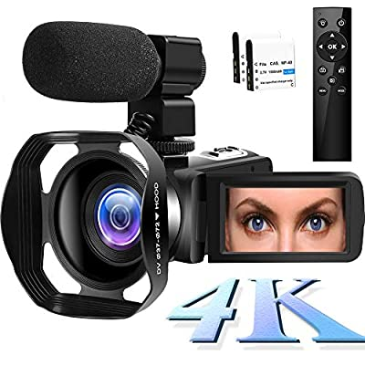 4K Video Camera Camcorder,Vlogging Camera for YouTube 48MP Camcorder 3 in Touch Screen Night Vision Pause Function with Microphone by SAULEOO