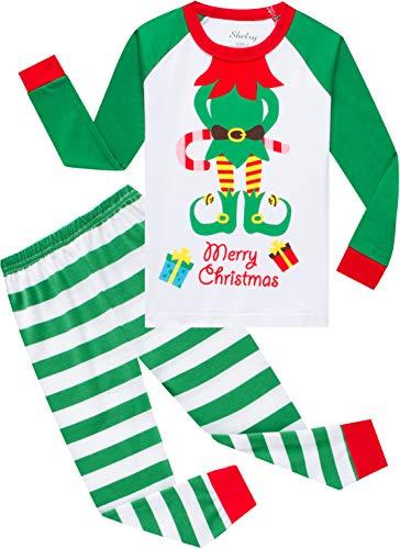 shelry Boys Christmas Elf Pajamas Girls Gift Pjs Children Cotton Clothes Kids Long Pants Set Sleepwear Size 2