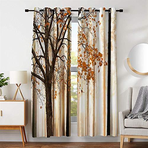 Blackout Window Curtains Maple Tree Printing Silky Satin Brown Orange Fall Leaves Grommet Drapes for Living Room Decor Thermal Insulate( 53 inch Wide by 45 inch Long Each - 2 Panels)