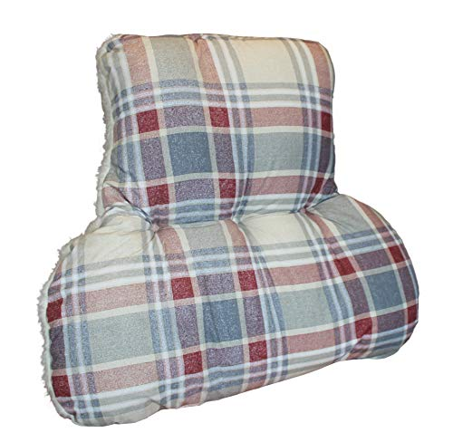 Diana Cowpe Reversible Back Support Cushion - Posture Therapy - Lumbar/Orthopedic Armchair Support & Pain Relief - T-Shaped - Reading, TV - MADE IN UK - Red & Grey Check/Cream Fleece