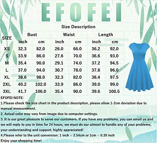 EFOFEI Vestido Estampado Floral para Mujer Vestido Informal de Verano a Media Pierna Burdeos M