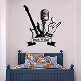Etiqueta de Vinilo de música Rock músico Pegatina Arte Mural decoración de la Sala de Pared Guitarra eléctrica patrón Pegatina
