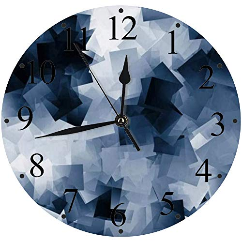 Reloj de Pared Moderno,Nota Gris Negro Blanco Azul Marino Cubos Chatarra Resumen Bloques en Blanco Libro de Pizarra Disreloj de Cuarzo de Cuarzo Redondo No-Ticking para Sala de Estar 30 cm