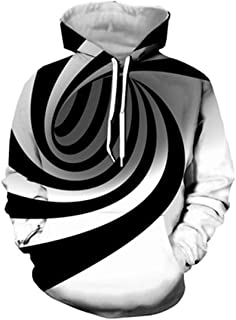 Black White Vertigo Hypnotic Printing 3D Sweatshirt Unisxe Funny Long Sleeve Optical Illusion Hoodies