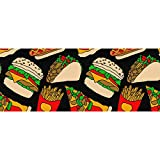 InterestPrint Pizza Burger Hotdog French Fries Tacos Gift Wrapping Paper Roll for Summer, Holiday and Special Occasion Gift Wrap - 1 Roll