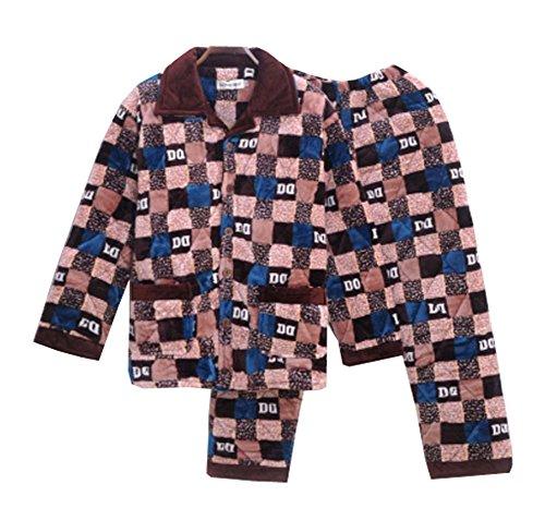 Dragon Troops Conjunto de Pijama de Terciopelo de Coral Flannel Velvet para Hombre, salón y Ropa de Dormir, A2