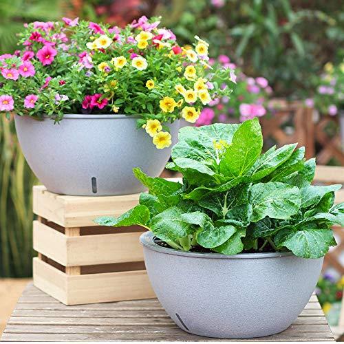 Sungmor Heavy Duty X-Large Plant Pots - Sterke Plastic Home Tuinplanten - Zelf Watering Indoor Outdoor Bloempot - 34,5 CM Dia. & Modern marmer kleur - Ideaal voor kruiden, vetplanten, groenten 2 Sets Pack (34.5cmD*16.5cmH)