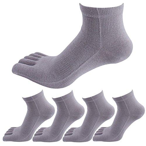 Panegy – Lot de 5 Paires Chaussettes Pour Homme – Chaussettes 100% Coton de Sport – Doigts de Pied séparés - Uni – respiration et désodorisant -Gris