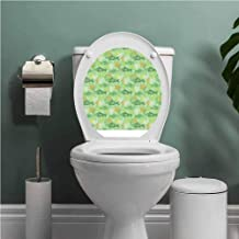 Fishes Decal Wall Art Decor Funny Bathroom Sticker Hand Drawn Basses Starfishes and Auger Seashell on Green Background Underwater Theme Removable Toilet BathroomSticker Multicolor W12XL14 INCH