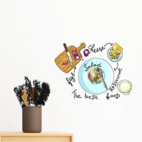 DIYthinker Ensalada de Queso Figuras France Restaurante Pared Etiqueta engomada desprendible de Arte Mural Calcomanías de Bricolaje Fondo de Pantalla para el Sitio de la Etiqueta 70cm