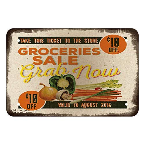 XYDYP Groceries Sale Vintage Metal Wall Decoration Retro Metal Tin Sign for Outdoor Bar Garage Courtyard Public Place 8x12 Inches