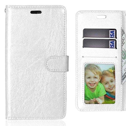 LEMORRY para LG X CAM (K580) Funda Estuches Pluma Repujado Cuero Flip Billetera Piel Protector Magnética TPU Silicona Carcasa Tapa para LG X CAM (K580), Marco de la Foto Blanco
