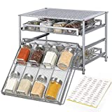 NEX Spice Rack Organizer for Cabinet, 3 Tier 24-Bottle Spice Drawer Storage for Kitchen Pantry Countertop, Metal, Silver
