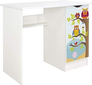 Leomark Vitt skrivbord för barn – Roma – trevligt skrivbord för barn med hylla, möbler för barnrum, höjd: 77 cm (ulen)