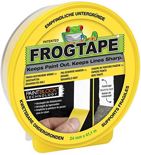 Frog Tape 631-34 FrogTape Delicate Abklebeband – Malerkreppband mit Paint-Block Technologie – Kreppband für saubere Kanten beim Streichen & Lackieren – 24mm x 41m, Gelb