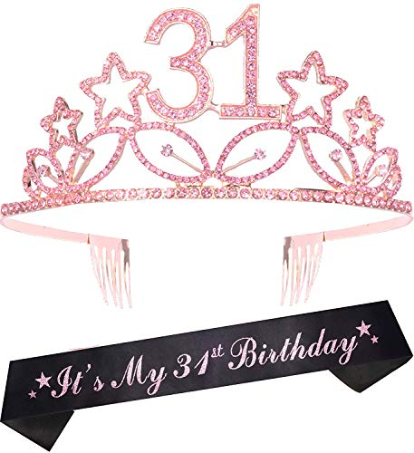 31st Birthday Gifts for Women, 31st Birthday Tiara and Sash pink, HAPPY 31st Birthday Party Supplies, 31 & Fabulous Glitter Satin Sash and Crystal Tiara Birthday Crown for 31st Birthday Party Supplies