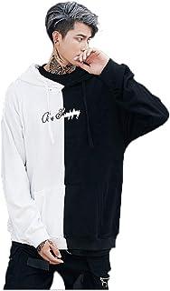 Nuevo Graffiti Smiley Negro y Blanco Costuras Suéter Sudadera con Capucha Hombres Y Mujeres Hip-Hop Pareja Chaqueta Tendencia