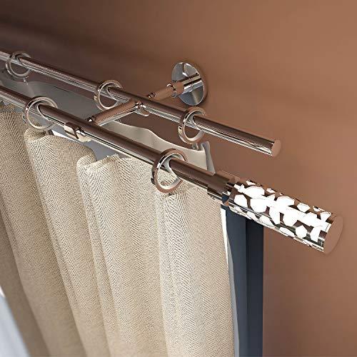 """Gcurtain Barra de Cortina de Metal Diámetro Estándar Diámetro 3/4"""" - 5/8"""" (16-19 mm) Ajustable Fácil Ventana Decorativa Diseño Elegante - Panal Blanco / 44""""-82"""" (110-210Cm)"""