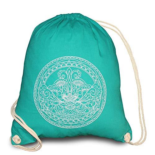 Bolsa de deporte de algodón hipster vintage, mochila para mujer, gimnasio, hombre y mujer, bolso de deporte, mochila para chicos, mochila, estilo bohemio, decoración japonesa, feng shui Lotus