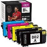 LemeroUexpect Remanufactured Ink Cartridge Replacement for Epson 802 802XL T802XL for Workforce Pro WF-4730 WF-4734 WF-4740 WF-4720 EC-4020 EC-4030 EC-4040 (Black, Cyan, Magenta, Yellow, 5-Pack)