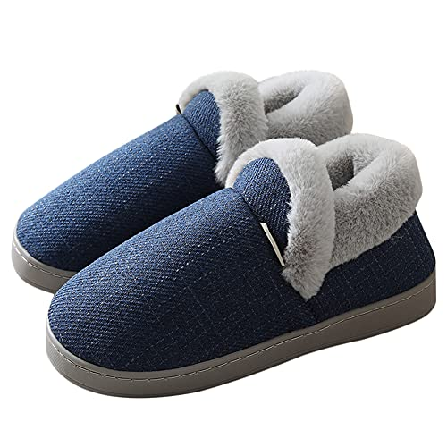 Husmeu Women's Memory Foam Bedroom Slippers for Women Closed Back Comfortable Fuzzy Fur Loafer Slippers Lightweight Slip On House Shoes Indoor Outdoor Navy Blue 5-6