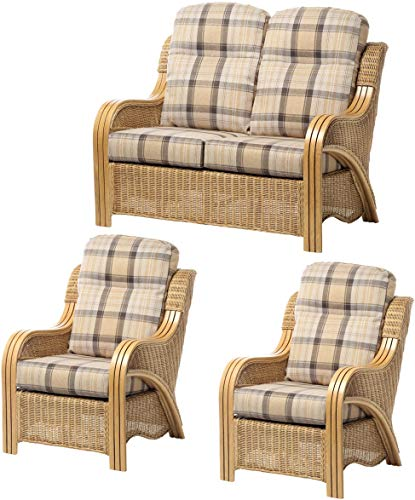 Desser Opera Rattan Conservatory Furniture Set – 2 Seater Sofa & 2x Armchairs Indoor Real Cane Wicker Chair & Settee Suite with UK Manufactured Cushions – Premium Highland Fabric