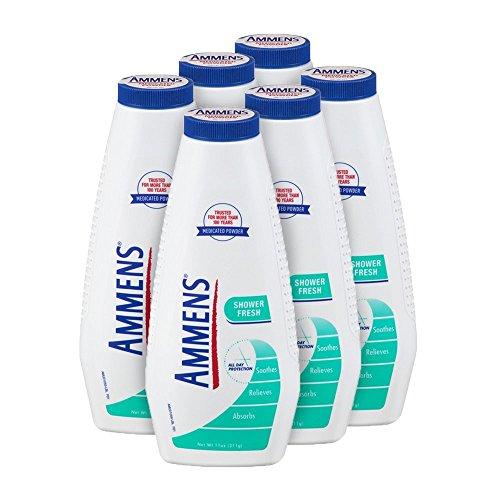 Ammens Medicated Powder, Shower Fresh Formula, 11-Ounce Bottle (Pack of 6)