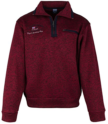 SOUNON Herren Sweatshirt, Polohemd, Pullover mit Hemdkragen, Meliert – Bordeauxrot (M9), Groesse XL
