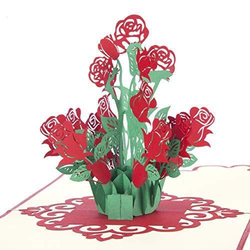 Valentijnsdag Kaarten - Boeket van Rozen Pop Up Card | Valentijnsdag Kaarten voor Vrouw of Vriendin, Verjaardagskaart voor Vrouw | Handgemaakte Kaarten door Cardology
